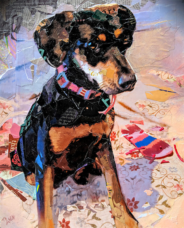 juliet the dog and dan gardiner collages and art